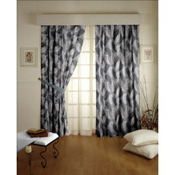 Sonalika Floral Readymade Curtain - 25Bluelack, long door, black