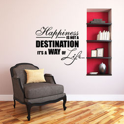 Kakshyaachitra Happiness is not A Destination Wall Stickers For Bedroom And Living Room, black, 24 19 inches