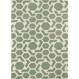 Floor Carpet and Rugs Hand Tufted AC Concept Abstract Green Carpets Online - A1-03-L, 3ftx5ft, green