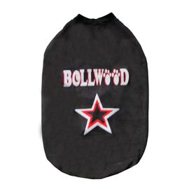 Rays Fleece Warm Bollywood Rubber Print Tshirt for Medium Dogs, 24 inch, black