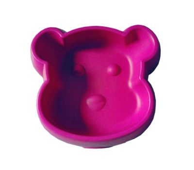 Canine Dog Face Thick Plastic Pet Feeding Bowl, red, 5 inch