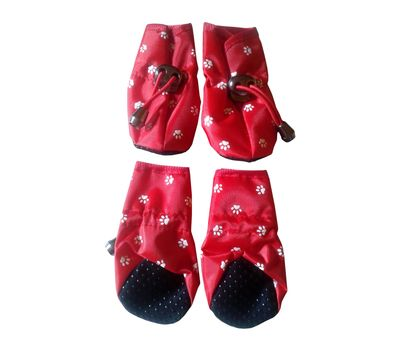 Puppy Love Waterproof Rain Shoes for Small to Medium Breed Dogs, red