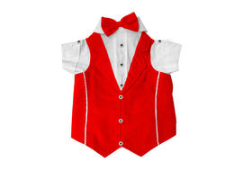 Zorba Party Tuxedo Suit for Small Breed Dogs, 16 inch, red & white