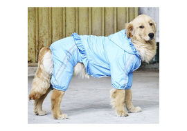 Puppy Love Frilly Jumpsuit Raincoat for Large Breed Dogs, 7xl, blue