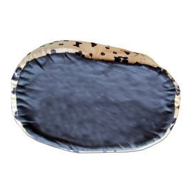 Canine Fleece Paw Print Oval Bed for Medium Dogs, 24 inch
