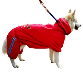 Puppy Love Jumpsuit Styled Superhero Raincoats for Large Breed Dogs, 7l, red