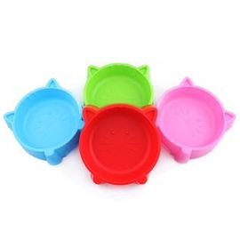 Kitty Cat Face Small Pet Feeding Non-Slip Bowl, blue