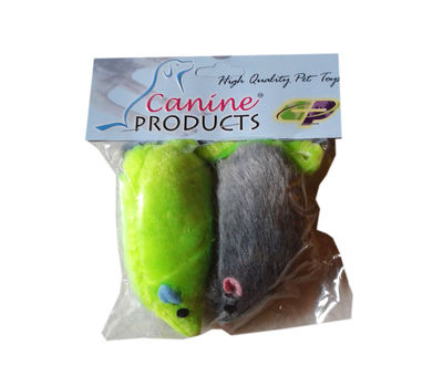 Canine 2 x 1 Fur Mouse Cat Toy, green & grey