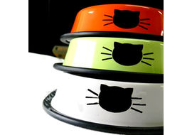 Puppy Love Stainless Steel Designer Cat Feeding Bowl, orange