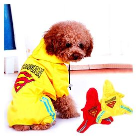 Puppy Love Jumpsuit Styled Superhero Raincoats for Medium Breed Dogs, 3l, yellow