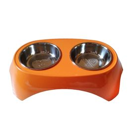 Canine Imported Premium Melamine Double Steel Bowl Set, small, orange