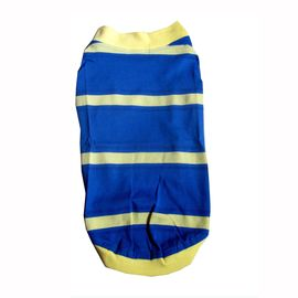 Zorba Designer Pique Cotton Striped Tshirt for Toy Breed Dogs, blue, 12 inch