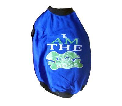 Rays Fleece Warm I am Boss Tshirt for Medium Dogs, 22 inch, blue