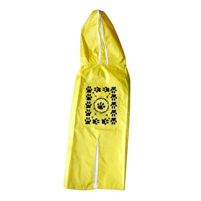 Rays Deluxe Double Protection Printed Raincoat for Small Dogs, paws, 18 inch, yellow