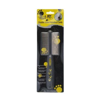 Hello Pet Double Sided Handled Comb, black