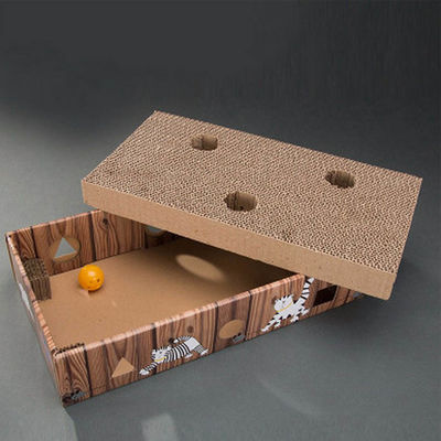 Imported Ye Wang Corrugated Scratch Box with Balls Cat Toy, brown