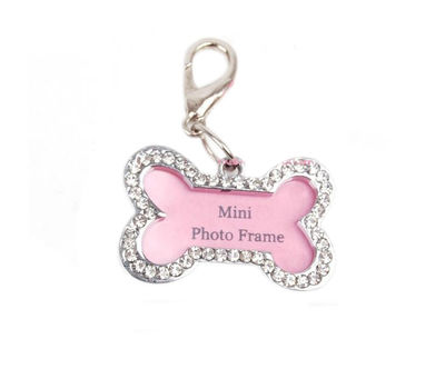 Crystal Rhinestone Photo Frame Pendant for Pets, pink