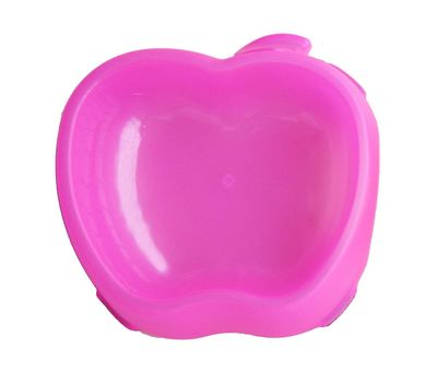 Canine Apple Shaped Plastic Feeding Bowl, small, pink