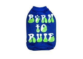 Rays Fleece Warm Born to Rule Rubber Print Tshirt for Small Dogs, 18 inch, blue