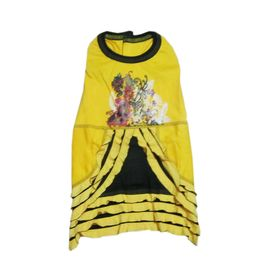 Zorba Designer Floral Printed Frock for Small Dogs, yellow, 16 inch