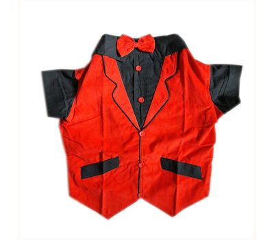 Zorba Party Tuxedo Suit for Small Dogs, red & black, 16 inch