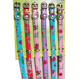 Nunbell PU Leather Printed Collar for Cats & Small Dogs, pink, elephant flower