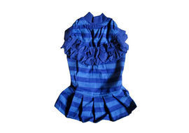 Zorba Designer Striped Frock for Small Dogs, blue, 18 inch