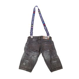 Canes Venatici Denim Jeans Pant with Suspenders for Dogs, 26 inch, dark grey