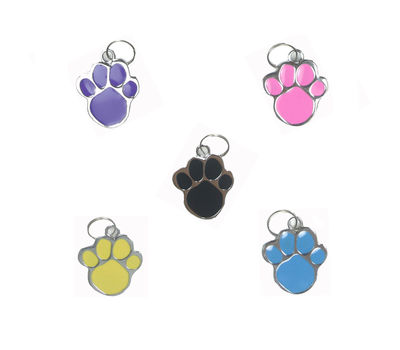Rodium Paw Shaped Collar Pendant for Pets, blue