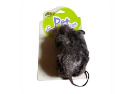 Pet Socialist Doctrine Fluffy Catnip Mouse for Cats, grey