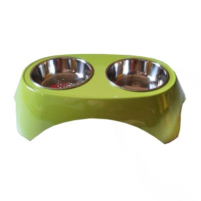 Canine Imported Premium Melamine Double Steel Bowl Set, small, green