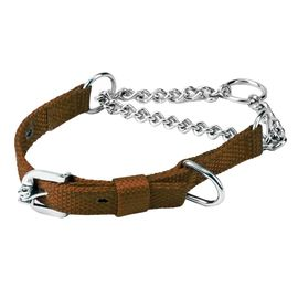 Kennel Nylon Choke Collar with Thin Chain for Medium Dogs, 0.75 inch, 19 inch, brown