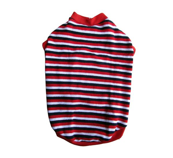 Rays Striped Woollen Sweater for Medium Dogs, 22 inch, red navy \u0026 white