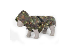 Zorba Dual Protection Army Camouflaged Military Raincoat for Small Dogs, 14 inch