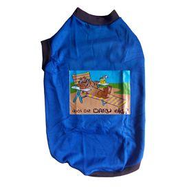 Rays Fleece Warm Rubber Print Tshirt for Medium Dogs, blue, 24 inch, daaru band