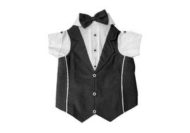 Zorba Party Tuxedo Suit for Toy Breed Dogs, black & white, 10 inch