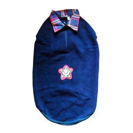 Rays Premium Double Fleece Warm Collar Tshirt for Large Dogs, navy blue smiley stars, 26 inch
