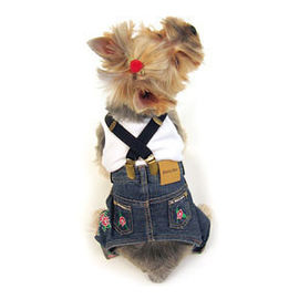 Canes Venatici Denim Jeans Pant with Suspenders for Dogs, 14 inch, dark grey