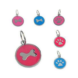 Rodium Circular Collar Pendant for Pets, sky blue