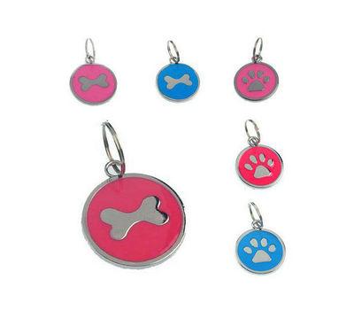 Rodium Circular Collar Pendant for Pets, white