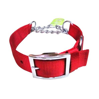 Canine Nylon Choke Collar for Medium to Some Large Dogs, medium, red
