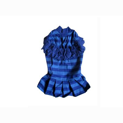 Zorba Designer Striped Frock for Toy Dogs & Cats, 10 inch, blue
