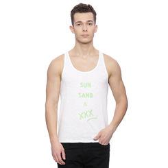 Devon White/Green Printed Slim Fit Vest, l,  white/green