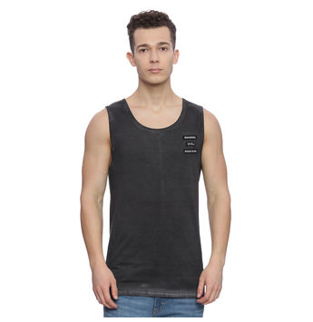 Romer Dark Grey Solid Slim Fit Vest, l,  dark grey