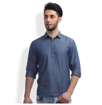 Breakbounce Yando Men's Casual Shirt, s,  indigo blue