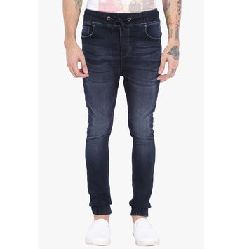 Breakbounce Elroy Men's Denim Slim Fit Joggers, 34,  dark blue