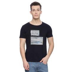 Gildon Navy Printed Slim Fit T Shirt, l,  navy