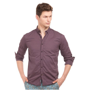 BAGOT PURPLE Slim Fit Solid Shirt,  purple, s
