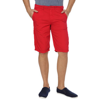 Breakbounce Astral Tapered Fit Solid Shorts,  hibiscuse red, 28