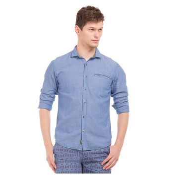 ACTON BLUE Slim Fit Printed Shirt,  blue, xxl